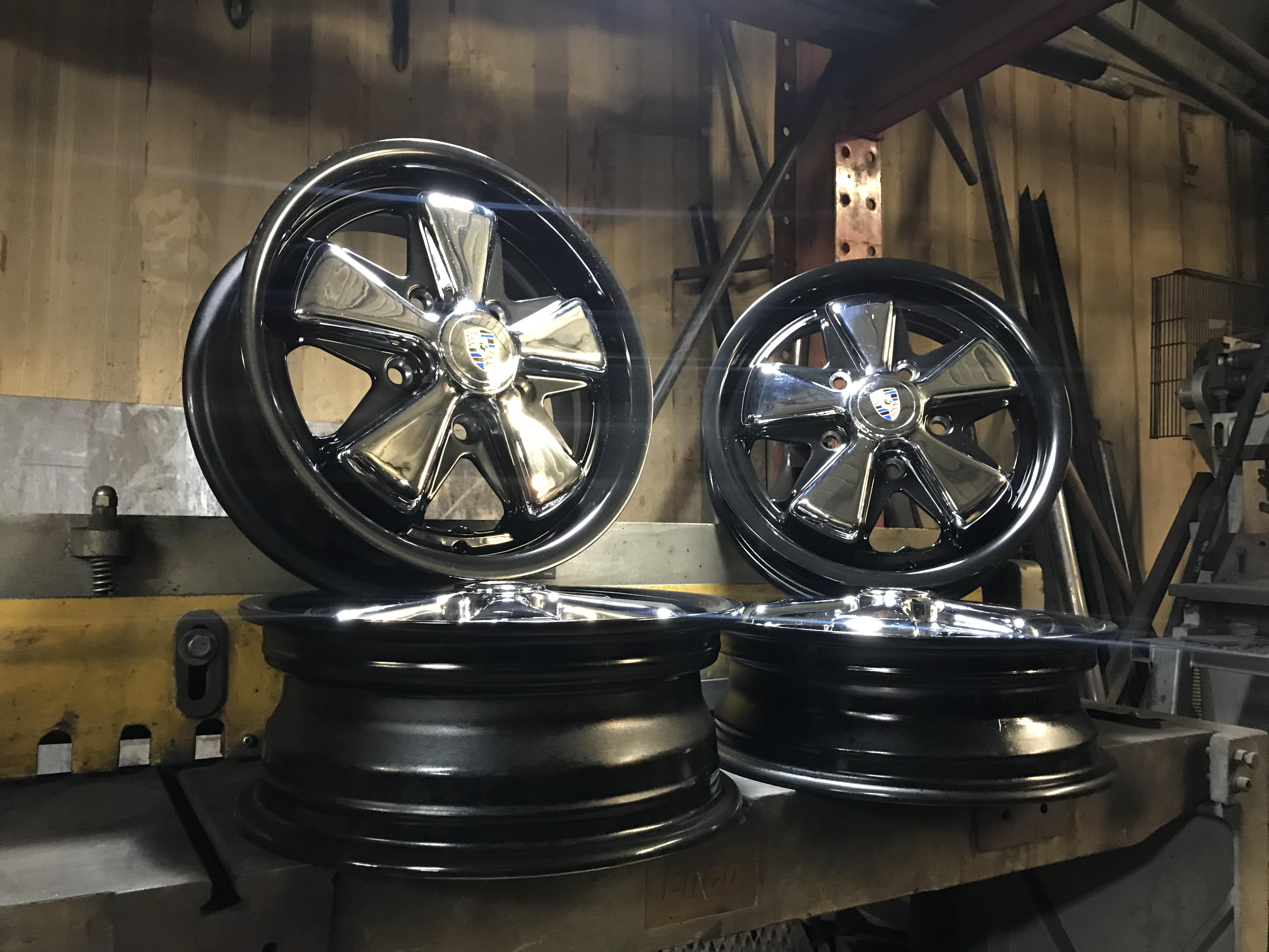 Custom Detailed Porsche Fuchs Wheels Set Chrome Black 5x130mm 15 X4 5 15 X5 5 Vintage V Dubs